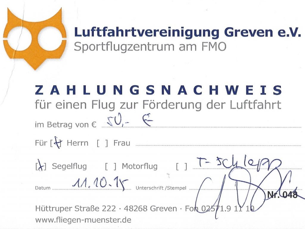Quittung F-Schlepp Segelflug